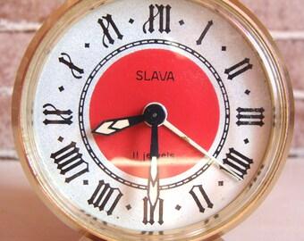"Alarm clock, Soviet Alarm clock ""SLAVA"",Vintage alarm clock,Working alarm clock,USSR alarm clock,Mechanical Alarm Clock, Desk Clock"