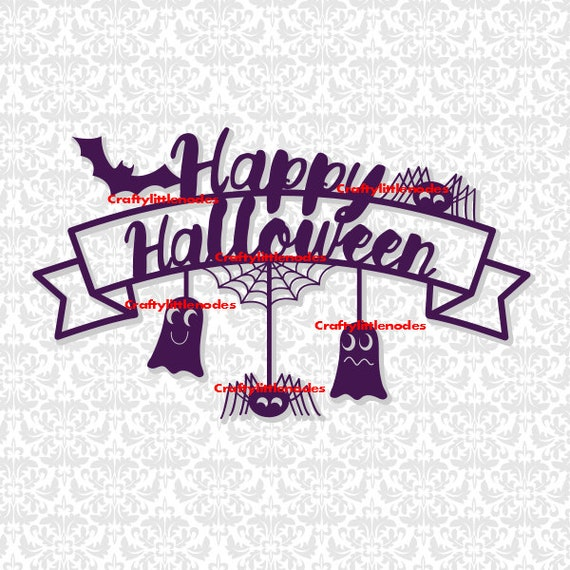 Happy Halloween Banner Bat Ghost Spider Web SVG STUDIO Ai EPS Scalable Vector Instant Download Commercial Use Cutting File Cricut Silhouette