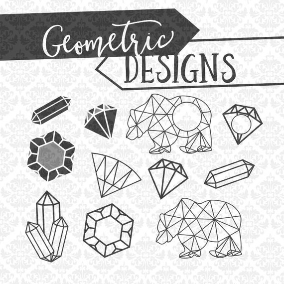 Geometric Designs Diamond Bear Ring Modern Abstract SVG DXF STUDIO ai eps scalable vector instant download commercial use cricut silhouette