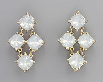 Moonstone Crystal Cascade Earrings