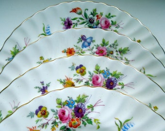 "Lot 4 Minton Salad Plates Marlow Floral 7 3/4"" S309 Gilded Swirled Wedding Anniversary Birthday Bridal Shower Gift"