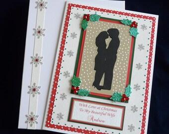 Large A4 Boxed Personalised Christmas Card Wife/Husband/Girlfriend/Boyfriend etc Handmade