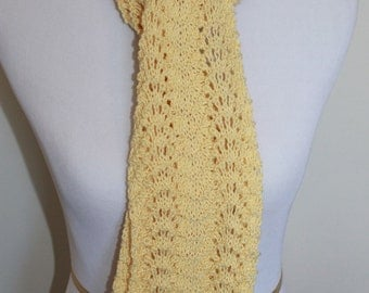 Lightweight yellow lace knit scarf