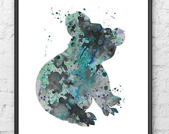 Koala Watercolor Print, Watercolor Art, Koala Painting, Silhouette, Animal Poster, Home Decor, Wall Decor, Animal, Wall Art, Home - 424