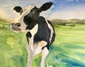 Cow painting, Cow art, Holstein Friesian, cow watercolor