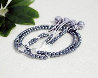 SGI Juzu japanese buddhist prayer beads grey pearls nenju with brocade storage bag, free fast international shipping