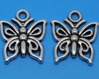50 Silver Tone Butterfly Charms Pendants 15x12mm