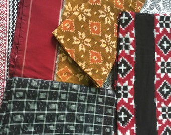 Mustard and Maroon Handwoven Double Ikat Cotton Saree