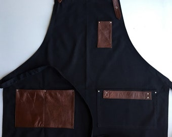 Black Denim Apron and Brown Leather