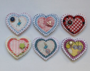Embroidered Felt Heart Brooches for Little Girls.