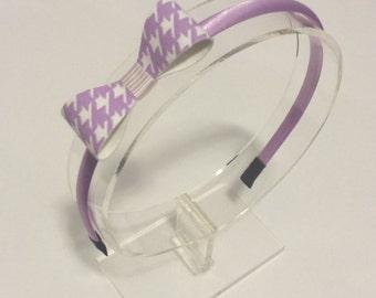 Light Purple Houndstooth Fabric Bow Headband