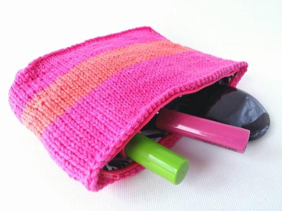 Knitting Pattern Makeup Bag : Knit Makeup Bag Makeup Organizer Knitted Pouch by 3LittlePurls