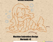 Redwork Embroidery Designs - Machine Embroidery Mermaid #9 Redwork Design - 4x4 Hoop