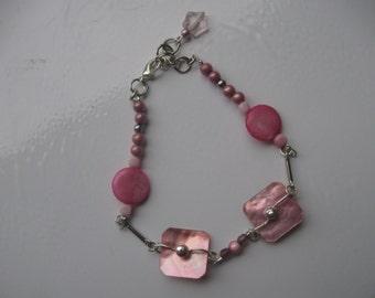 Bracelet nacre et rose