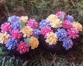 Fairy garden accessories. Miniature flower beds.  Set of 2.
