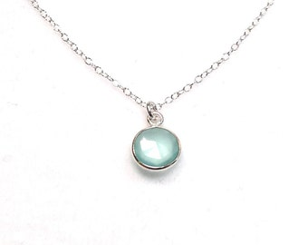 By the Sea 925 Sterling Silver Aqua Blue Chalcedony Necklace by How I Wonder