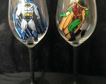 Batman and robin wine glass