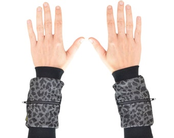 Wrist Zips | Wrist Wallet Cuffs | Black and Grey Animal Cheetah Print