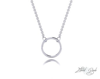 Solid 14k White Gold Hoop Necklace, 14k White Gold Circle Necklace, 14k White Gold Ring Necklace, Gold Halo Necklace, Gold Necklace, 10mm