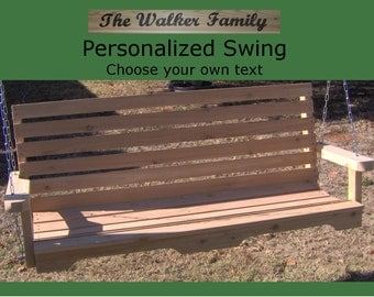 New Personalized 5 Foot Cedar Wood Country Porch Swing - Choice of Name/Phrase Woodburned On Swing - Hanging Rope - Free Shipping