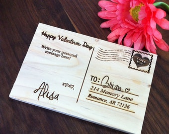 Personalized Wood Postcard, Customized Valentine Gift, For Him, For Her, Laser engraved Letter