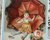 1800s Embossed Easter Card, Child and Huge Umbrella, Rose ~ Scrapbooking, Paper Crafting, Altered Art, Mixed Media #554