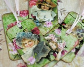 Little Victorian Girl Tags Set of 5 Personally Designed, Hand Made for Scrapbooking, Gift Tags, Paper Crafting, Tuck Ins #568