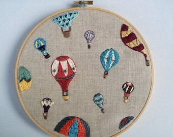 Hand Embroidered Linen Hoop Art - Hot Air Balloons - Multicolor