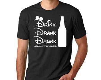 "Disney Epcot Drinking Shirt // ""Drink Drank Drunk around the world"" // Epcot Drinking around the World Showcase // Disney Drinking Shirt"
