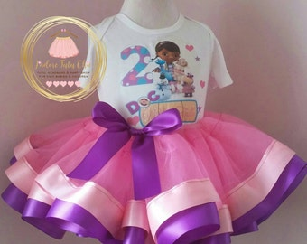 Doc mcstuffin birthday outfit - ribbon trimmed tutu - doc mcstuffin ribbon trimmed tutu outfit - doc mcstuffin birthday theme - tutu set