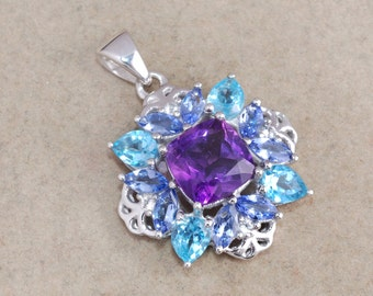 Amethyst, Blue topaz, Tanzanite 925 sterling silver pendant jewelry - February birthstone gift idea - Prong setting handmade necklace gift