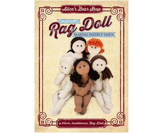 "Instant Download - Pattern and Instructions Traditional  Rag Doll Body - to make 54cm/21"" Rag Doll."