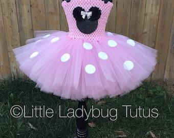 Pink and Black Minnie Mouse Tutu Dress