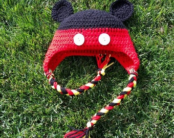 Mickey Mouse Inspired Ear Flap Hat