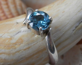 Blue Topaz & Silver Ring  6.75