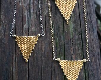 Gold Peyote Stitch Necklaces