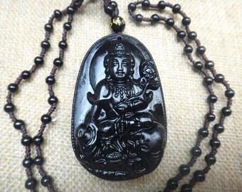 "Free shipping natural obsidian pendant ""Mahastamaprapta"" patron saint pendants"