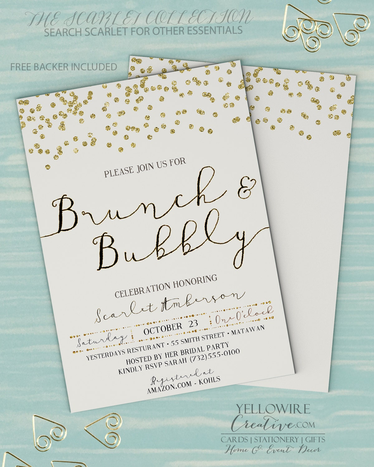 Brunch and bubbly invitation bridal brunch invitation for Wedding brunch invitations