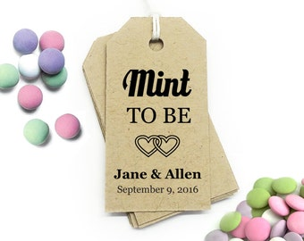 Mint To Be Tag Template, DIY Printable Favor Tags, Gift Tag Templates, Personalized Wedding Tags, Mint Favor Tag