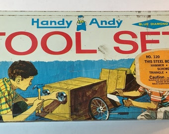 Vintage Handy Andy Steel Toy Tool Box