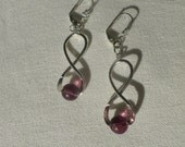 Pierced earrings silver and purple with small aventurines.
