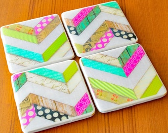 Chevron Coasters Cute Coasters Ready To Ship Tile Coasters Resin Mold Gifts For Her Gifts Under 30 Photo Coasters Drink Coasters Ceramic Coa