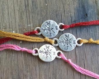 Compass Wish Bracelet, Compass Charm Bracelet, Wish Charm, Adventure Charm, Guidance, Athletic Jewelry, Simple Bracelet
