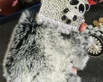Charms Bling Luxury Panda Gray Soft Fluffy Fur Furry Sparkles Gems Crystals Rhinestones Diamonds Fashion Lovely Hard Case for Mobile Phones