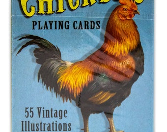 Chicken Playing Card Deck, 55 unique vintage illustrations