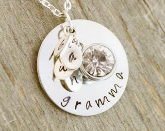 Grandmother Necklace, Custom Necklace for Grandma, Hand Stamped Grandma Necklace Custom Initial Necklace Nana Necklace Personalized Necklace