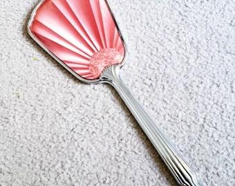Art Deco Pink Enamel Hand Held Mirror, Vintage Vanity Mirror, Dressing Table Mirror