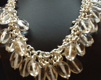 Princess necklace large Chrystals that dangle Dow with silver teardrops