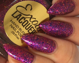 TEMPTATION Pink Purple Jelly multi-chrome Flakie Nail Polish