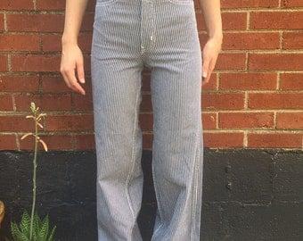 Vintage high-rise train stripe jeans/pants/pinstripe/XS/XXS/23/24